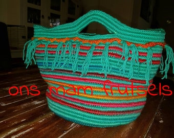 Crochet bag with nylon thread