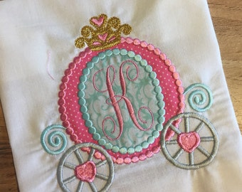 Princess Carriage Shirt or Onesie Embroidered Personalized Monogrammed Birthday Holiday Vacation Summer Spring Winter Fall