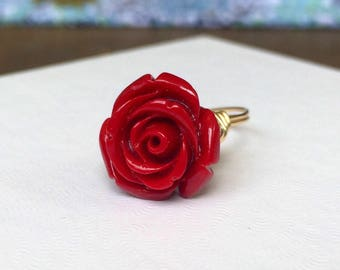 NEW STYLE Red Rose Ring | Red Flower Ring | Red Rose Flower Ring | Red Flower Jewelry | Beauty and the Beast Ring | Belle Ring Gift