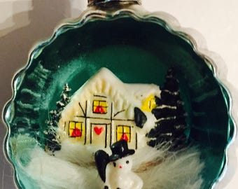 Vintage Diorama Christmas Ornament With Snowman in front of winter night's house Scene mercury glass