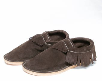 Men's Leather Moccasin - Classic Fringe or Fringeless - Shown: Onyx, Father's Day Gifts, For Him, For Dad