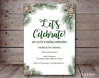 "DIY 5x7"" Pinecones Editable Invitation, Winter Invitation, Winter Baby Shower Invitation, Bridal Shower Invite, Birthday Invitation WS73"