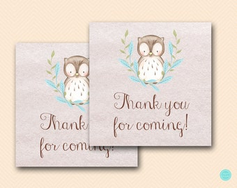 Blue Owl Baby Shower Favors, Thank you tags, favor tags, Owl Baby shower favors, Baby shower favors, Thank you note TLC401 TLC401B BS401