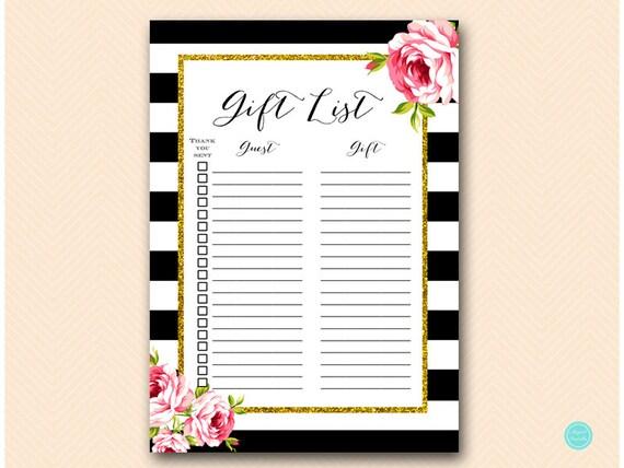 Wedding Gift List: Gift List Printable Guest List Printable Gift Checklist