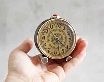 Vintage alarm clock, Soviet alarm clock, Slava, made in USSR, black and gold alarm clock