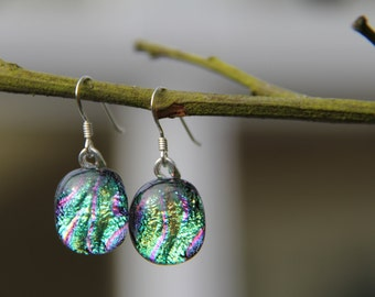 Green and pink dichroic glass earrings, green dangly  earrings,dichroic drop earrings,  birthday gift, fused glass earrings, glass jewellery