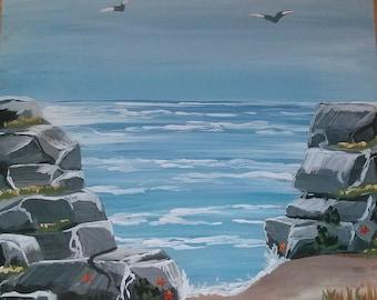 Original Acrylic on Wood The Oregon Coast Painting