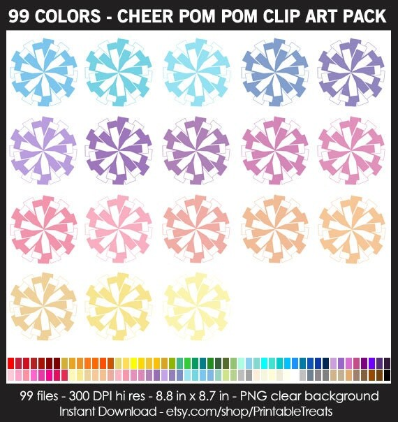 99 Colors Cheer Pom Pom Clipart Pack Cheerleading
