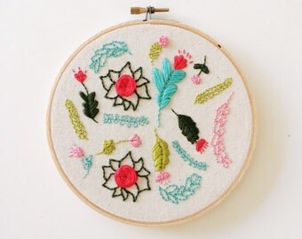 SALE - Floral Garden BRIGHT ~ 6' Handmade Embroidery Hoop Art