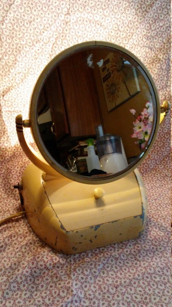 Art deco vintage lighted vanity mirror