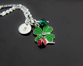 Red Ladybug on Clover Leaf Charm Necklace, Silver Clover Charms,Ladybug Charms,  Personalized Necklace, Initial Necklace, Initial Charms