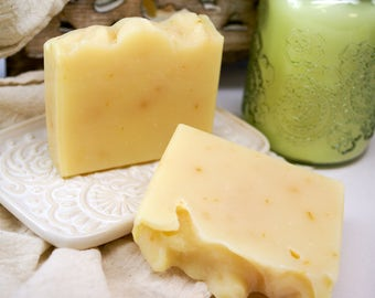 Lemon Lemongrass Bath Soap, Natural Bar Soap, Handmade Soap, Essential Oil Soap, Fresh Clean Body Soap, Vegan Shea Butter Bath Soap