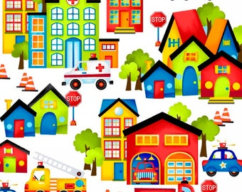 Be My Hero, Firetruck fabric, Rescue Fabric, Rescue Town, Boy Fabric, Trucks and Cars Fabric, White Background, by Henry Glass, 1019-01