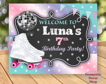 Roller Skating Welcome Sign / Roller Skates / Welcome Sign / Girl / Pink / Aqua / Teal / Purple / Roller Skating Birthday Party WSRS1