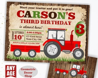 Tractor Birthday Invite, Tractor Invitation Tractor Invitations Woodland Rustic Wood Invite Digital File Red Boy Girl Photo Photograph BDT14