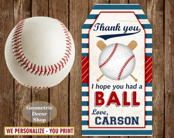 Baseball Party Favor Tags, Baseball Party Gift Tags, Baseball Birthday Party, Baseball Thank You Tags, Sports Favor Tag Boys, Red Blue FTSP1