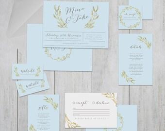 Claire De Lune Printable Wedding Invitation Suite . Wedding Invitation, Printable Invite, DIY Wedding Invitation, baby blue, sky blue, gold