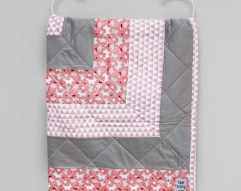 Pink & Grey Patchwork Cot Quilt, Baby Blanket, Toddler Quilt, Screenprinted Organic Cotton, Organic Cotton Jersey, Eco-friendly Screen