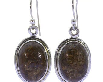 Bronzite Earrings, 925 Sterling Silver, Unique only 1 piece available! color brown, weight 4.8g, #37262