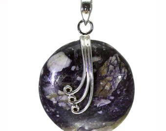 Jasper Pendant, 925 Sterling Silver, Unique only 1 piece available! color navy blue, weight 11.9g, #28539