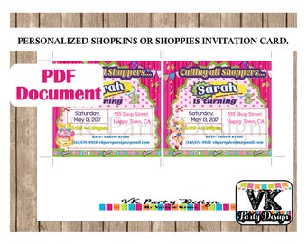 Shopkins and Shoppies Invitation Card and Shopping Bag Envelope. Personalized