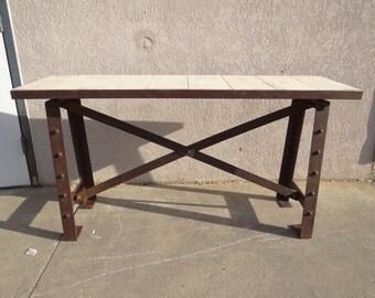 urban industrial metal wood sofa hall foyer console table server sideboard rivet
