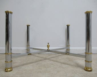 Vintage French Regency Chrome Brass Coffee Table Base