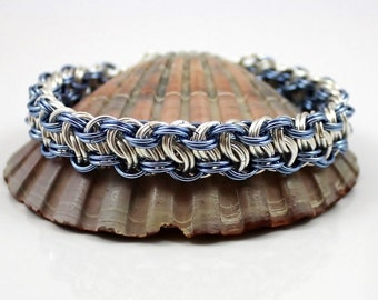 Silver Plated Chainmaille Bracelet, Blue Bracelet, Silver Bracelet, Chainmaille Bracelet, Chain Mail Bracelet, Chainmail Bracelet