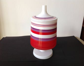 Vintage 1970's glass canister, striped glass container with lid covered dish