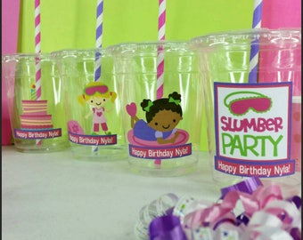 12 Personalized Slumber Party/Sleepover Themed Party with Straws and Lids