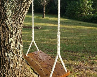 Custom Engraved Wood Tree Swing Solid Oak Personalized Large Seat
