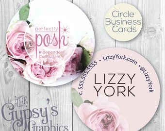 Perfectly Posh Business Cards,Rosy Delight,Perfectly Posh Circular Cards,Perfectly Posh Marketing,Posh Calling Cards,Posh Business Material