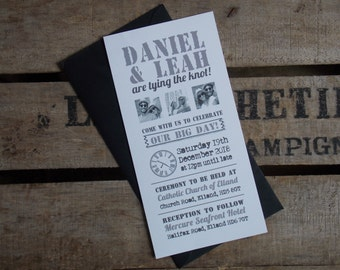 Rustic Vintage Wedding Invitations Black and White Pictures Set