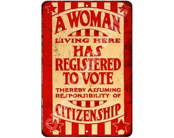 1920 Suffrage Flyer Registered to Vote Vintage Reproduction Sign 8x12 8120458