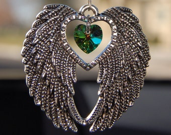 Swarovski Crystal Suncatcher, Car Charm, Large Silver Angel Wings, Rearview Mirror Car Charm