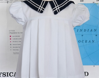 Vintage Baby Sailor Dress / White Baby Sailor Dress / White Baby Dress / Nautical Baby Dress / Summer Dress / Size 3 Months / Size 6 Months