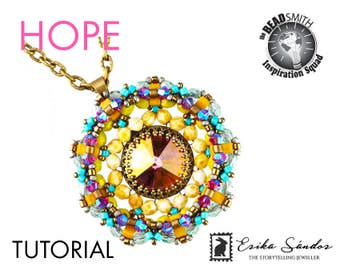 HOPE pendant - instant download for pdf instructions beading pattern. Pendant with rivoli cabochon, fire polished bead, Half Tila, bicone.