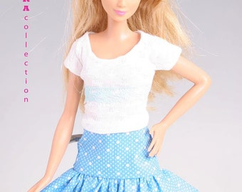 Barbie clothes 2piece set top and skirt