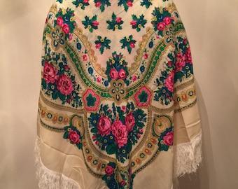 Vintage Ukrainian Shawl, Russian Shawl, Floral Shawl, Russian Floral Scarf Active. This shawl has holes.