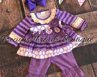 Purple & Lace Boutique Ruffle Outfit