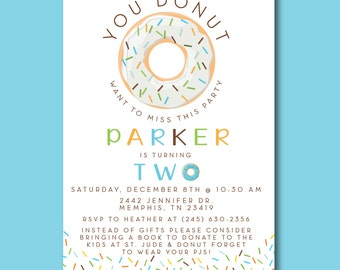 Donut birthday party invitation BOY (one two first second blue green orange bday)