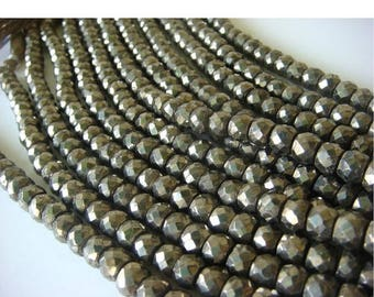 ON SALE 50% Pyrite Beads, Natural Pyrite Faceted Rondelle Beads - 8 Inch Strand - 7.5mm Approx