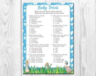 Blue Peter Rabbit Baby Boy Shower Trivia Game, Instant Download, Blue Boy Baby Shower Game,Beatrix Potter Baby Boy Trivia Game  QU011
