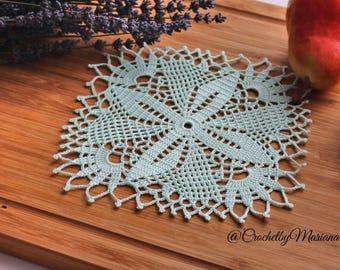 Mint doily,Crochet doily, Round crochet doily,Handmade doily,crochet lace doily,Crochet table decoration, Crochet placemat,crochet item