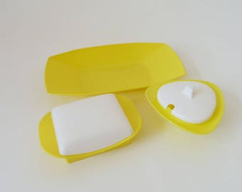 Yellow butter jar and co for camping or at home, jam pan, WaCA casual tableware, camping set, 50's 60's