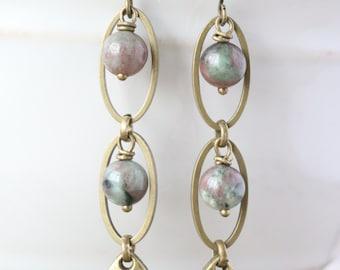 Kashgar Garnet Teardrop Dangle Earrings - Teardrop Earrings, Gemstone Earrings, Oval Earrings, Drop Earrings, Bronze Earrings, Boho Earrings
