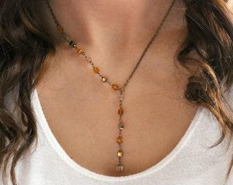 Asymmetrical Lariat Necklace - Gold Necklace, Bronze, Beaded Necklace, Bronze Necklace, Fall Colors, Boho Necklace, Boho Chic, Bohemian