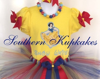 Disney SNOW WHITE Inspired 3pc. Tutu Set Custom All Sizes Available Boutique Pageant Birthday Party Vacation Land World Costume Holiday