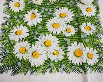 Vintage Kay Dee Hand Prints Linen Daisy and Fern Towel - Daisies and Ferns - Blue Floral Accents