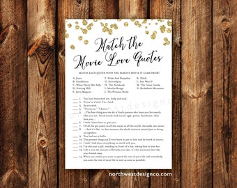DIGITAL - Movie Love Quotes Bridal Shower Game Gold Bling Modern Printable Match the Love Quotes Instant Download Wedding Shower Game Card